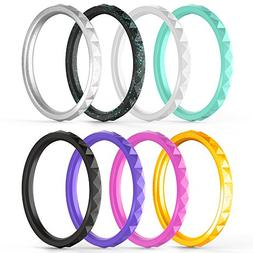 ThunderFit Thin and Stackable Silicone Rings, 8 Pack & Singl