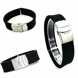 US Silicone Rubber Waterproof Watch Band Strap Unisex Clasp