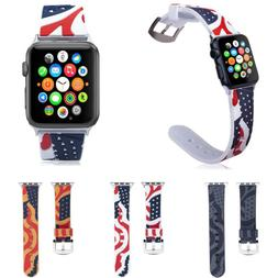 USA Flag Stars Stripes Silicone Band for iWatch Series 5 4 3