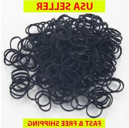 USA Seller LOTS 125-500 PCS SMALL BRAID BLACK RUBBER BANDS H