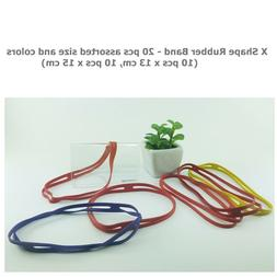 X Shape Silicone Rubber Bands Cross Style 13,15cm  20Pcs Ass