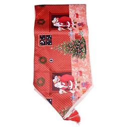 YaidaMDN Christmas Table Runners Red Pattern Santa Claus Tas